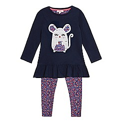 bluezoo - Girls' navy sequin mouse top and colourful ditsy print leggings set