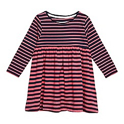bluezoo - Girls' pink and navy striped print dress