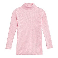 bluezoo - Girls' light pink ribbed turtle neck jumper
