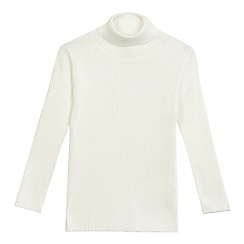 bluezoo - Girls' cream ribbed turtle neck jumper