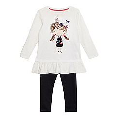 bluezoo - Girls' cream girl print tunic and navy jeggings set