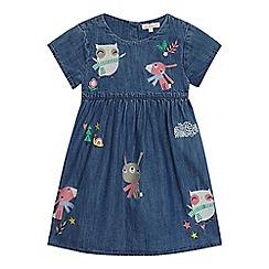 bluezoo - Girls' blue denim embroidered animal dress