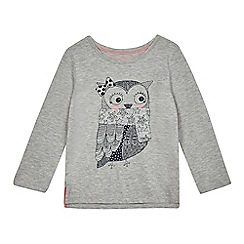 bluezoo - Girls' grey glitter owl print t-shirt