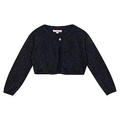 bluezoo - Girls' navy glitter cropped cardigan