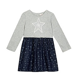 bluezoo - Girls' grey and navy star print dress