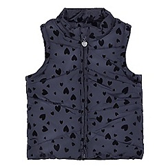 bluezoo - Girls' navy textured heart padded gilet