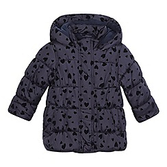 bluezoo - Girls' navy textured heart padded coat