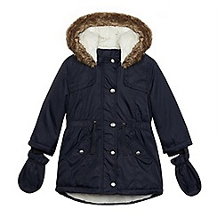 bluezoo - Girls' navy fleece lined parka jacket and mittens