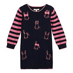 bluezoo - Girls' blue embroidered bunny knit jumper