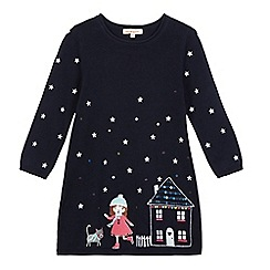 bluezoo - Girls' navy house scene applique knitted dress