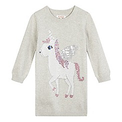 bluezoo - Girls' grey unicorn knit dress