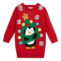 bluezoo - Girls' red Christmas tree penguin jumper