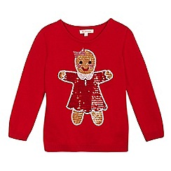 bluezoo - Girls' red sequinned gingerbread woman jumper
