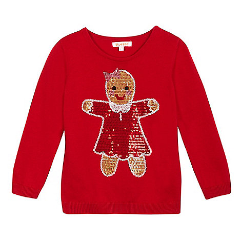 bluezoo - Girls+ red sequinned gingerbread woman jumper