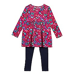 bluezoo - Girls' pink and navy butterfly print tunic and leggings set