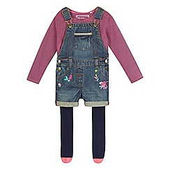 bluezoo - Girls' blue denim dungarees set