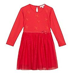 bluezoo - Girls' red long sleeve star print dress