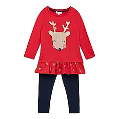 bluezoo - Girls' red reindeer applique top and navy leggings