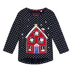 bluezoo - Girls' Christmas house print t-shirt