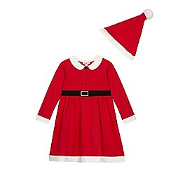 bluezoo - Girls' red Santa dress and hat set