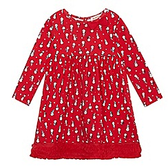 bluezoo - Girls' red snowman print dress