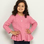 Designer girl's pink peplum cable knitted cardigan