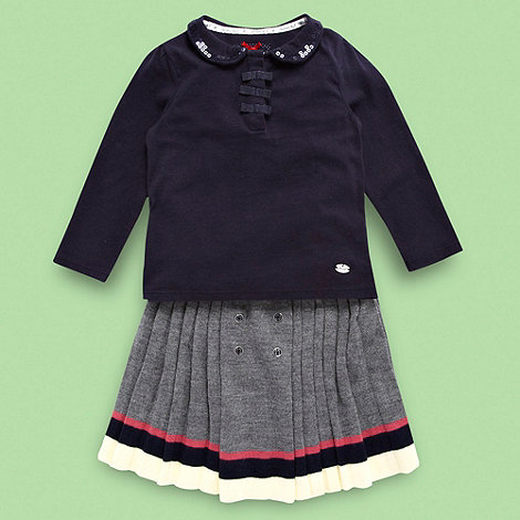 J by Jasper Conran - Designer girl+s navy jersey top and grey knitted pleat skirt