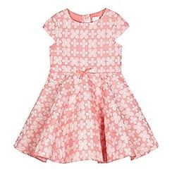 J by Jasper Conran - Girls' pink floral print textured dress