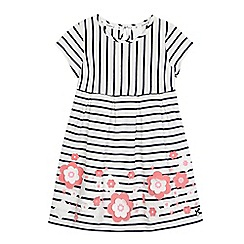 J by Jasper Conran - Girls' cream and navy striped print flower applique dress
