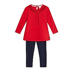J by Jasper Conran - Girls' red sequin bow top and navy leggings set