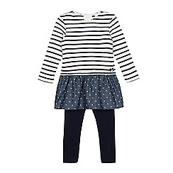 J by Jasper Conran - Baby girls' navy and cream striped print top and leggings set