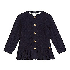 J by Jasper Conran - Girls' navy cable knit peplum cardigan