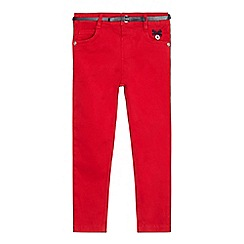 J by Jasper Conran - Girls' red skinny stretch belted trousers