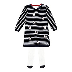J by Jasper Conran - Girls' navy stitched cat dress and white tights set