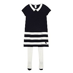 J by Jasper Conran - Girls' navy striped knitted dress and tights
