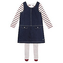 J by Jasper Conran - Girls' dark blue denim dress set with tights