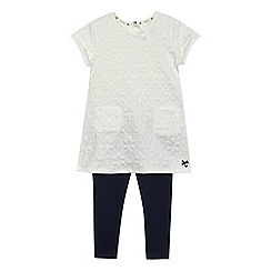 J by Jasper Conran - Girls' off white textured floral tunic and leggings set