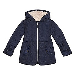 J by Jasper Conran - Girls' navy quilted hooded coat