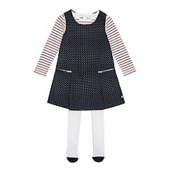 J by Jasper Conran - Girls' navy spot print cord pinafore, white striped top and tights set