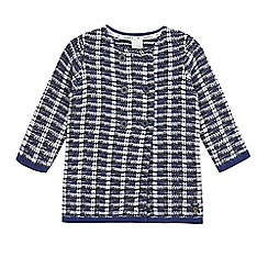 J by Jasper Conran - Girls' navy knitted checked cardigan
