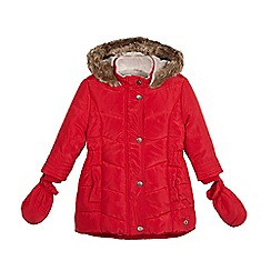 J by Jasper Conran - Girls' red padded coat with mittens