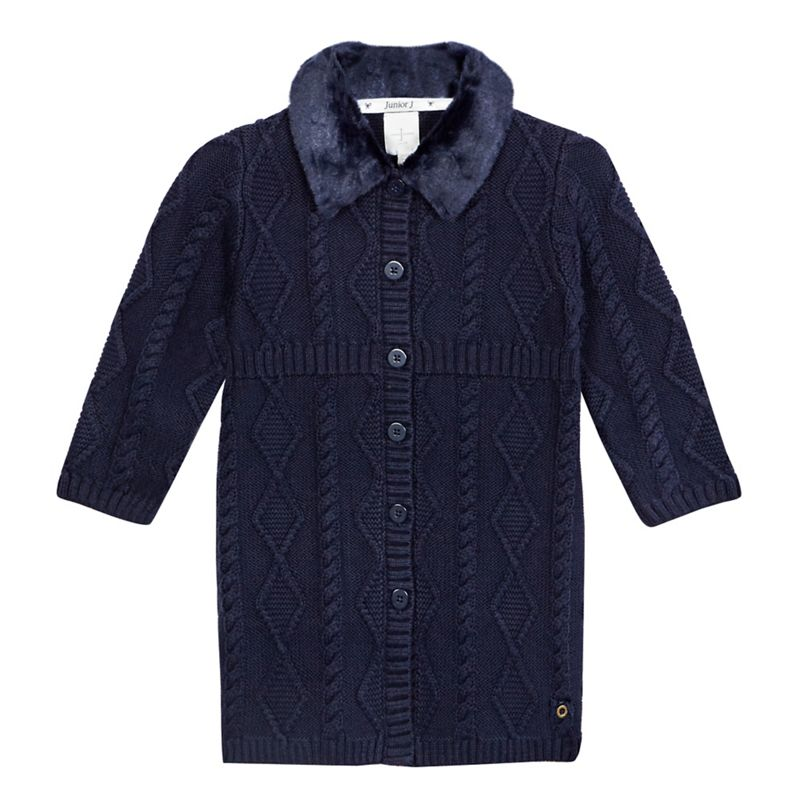 J by Jasper Conran Girls Navy (Blue) Faux Fur Cable Knit