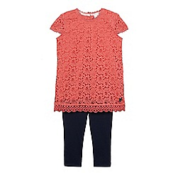J by Jasper Conran - Girls' mid rose crochet tunic and leggings set