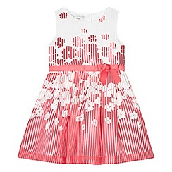 RJR.John Rocha - Girls' pink and white floral print striped burnout dress