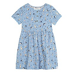 Mantaray - Girls' blue short sleeved animal print jersey dress
