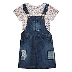Mantaray - Girls' blue and pink pinafore and t-shirt set