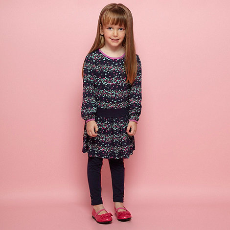 Butterfly by Matthew Williamson - Designer girl's navy butterfly printed dress and leggings