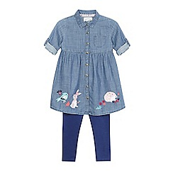 Mantaray - Girls' chambray dress and leggings set