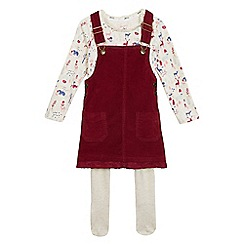 Mantaray - Girls' red and cream printed pinafore, top and tights set