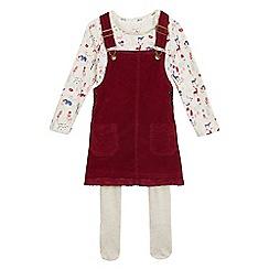 Mantaray - Girls' red and cream printed pinafore, top and tights set